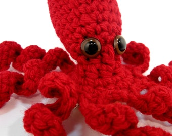 Octopus Statement Fascinator. Fun Whimsical Sea Creature Hair Clip. Nerdy Tentacle Geek Barrette. Fantasy Costume Amigurumi Headpiece. Red.