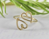 Double Heart Ring - Heart To Heart Love And Friendship Symbol Ring, 14K Gold Filled Wire Ring