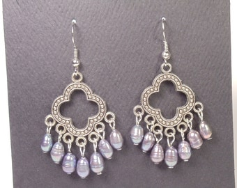 Grey Freshwater Pearl Earrings