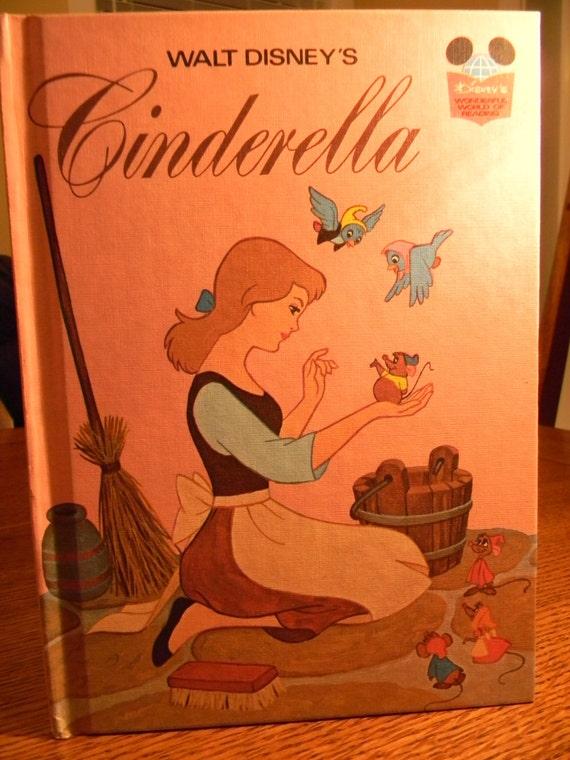 Vintage 1974 Cinderella Book Disney Princess Walt
