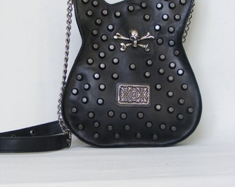 Leather purse. Black Handmade Eco Sustainable Leather Bag. Studded Guitar Shaped Bag. Strato Bag. Skull Purse. Ready to ship