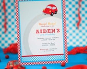DIY PRINTABLE Invitation Card - Vintage Red Racing Car Birthday Party - PS807CA1a1