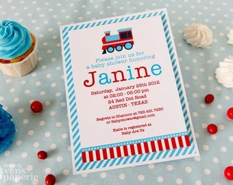 DIY PRINTABLE Invitation Card - Vintage Blue Choo Choo Train Baby Shower Invitation - BS802CA1a1