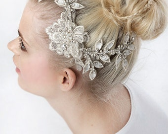My Eternal Aphrodite bridal hairpiece - Stunning hair piece with lace flower and leaves