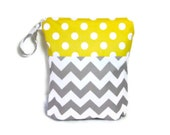 Gray Chevron yellow polka dot wet bag waterproof  cloth diaper zipper medium swim bathing suit pool beach girl  wetbag