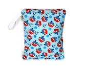 Nautical boat wet bag swim suit pool beach bathing summer bag waterproof small cloth diaper light blue wetbag