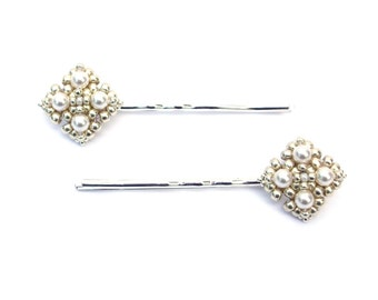 Hair Clip, Silver, White Swarovski Pearl, Beaded Hair Pins, Mini Hair Accessory, Pretty Little Pins