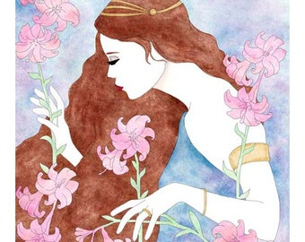 Art Nouveau Inspired Watercolor & Ink Painting Fine Art Print Wall Decor
