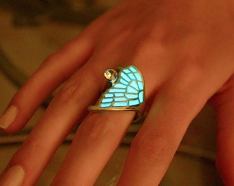 GLOW in the DARK Butterfly WING Ring