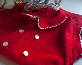 SALE Cherry Red -  Jumper Velvet  - Toddler. One Piece, Holiday, Onsie