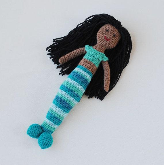 SALE Black Mermaid - Mermaid Crochet African American Doll