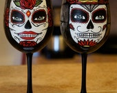 Day of the Dead hand painted Wine Glasses