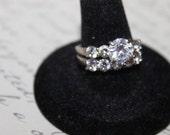 Vintage Sterling & CZ Wedding Ring Set