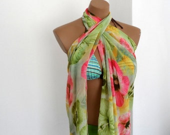 Crinkle Scarf, Floral  Pareo, Summer Blooms, Pink Lime Green