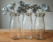 Three Milk Bottles Carnation Small Size Vintage Milk Glass Bottles / Carnation Baby Bottles