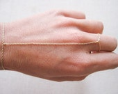 14k solid yellow gold hand chain, slave bracelet,  finger bracelet, ring chain, ring bracelet, rose gold and white gold