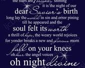 Items similar to O Holy Night Christmas Word Art Lyrics Printable Digital Typography Decoration ...