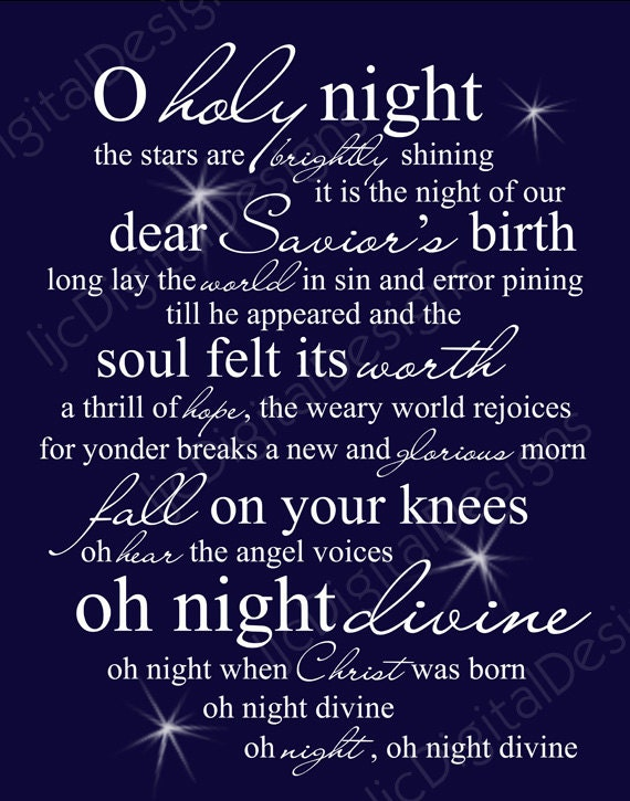 Christmas o holy night lyrics christmas o holy night printable