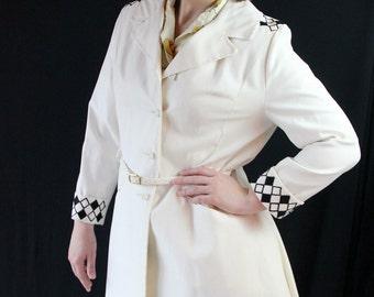 60s Coat / Geometric / Mod / Black and White / Lanson / Diamonds