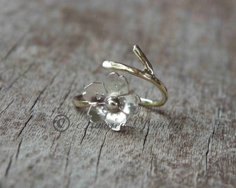 Sakura Ring - Japanese Cherry Blossom Branch Adjustable Ring Gold filled branch band with Sterling Silver Blossom bypass - gift under 40 50