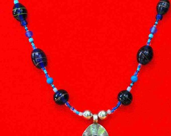NECKLACE, blue, murano glass beads, howlite, silver, tibet silver beads, alloy pendant with big blue Swarowski crystal. OOAK