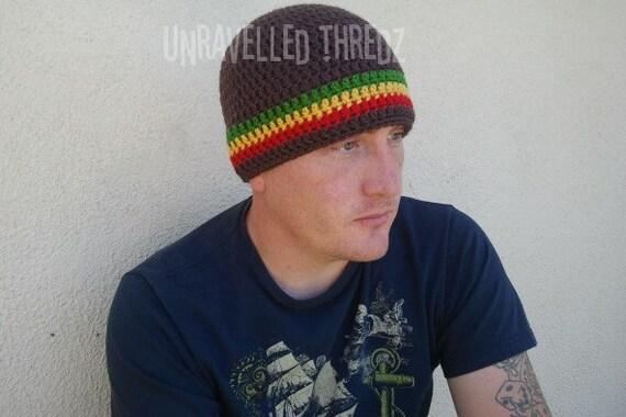 Brown Rasta Beanie, Adult Beanie Hat, Rastafarian Stripes, Teen Beanie, Mens Beanie