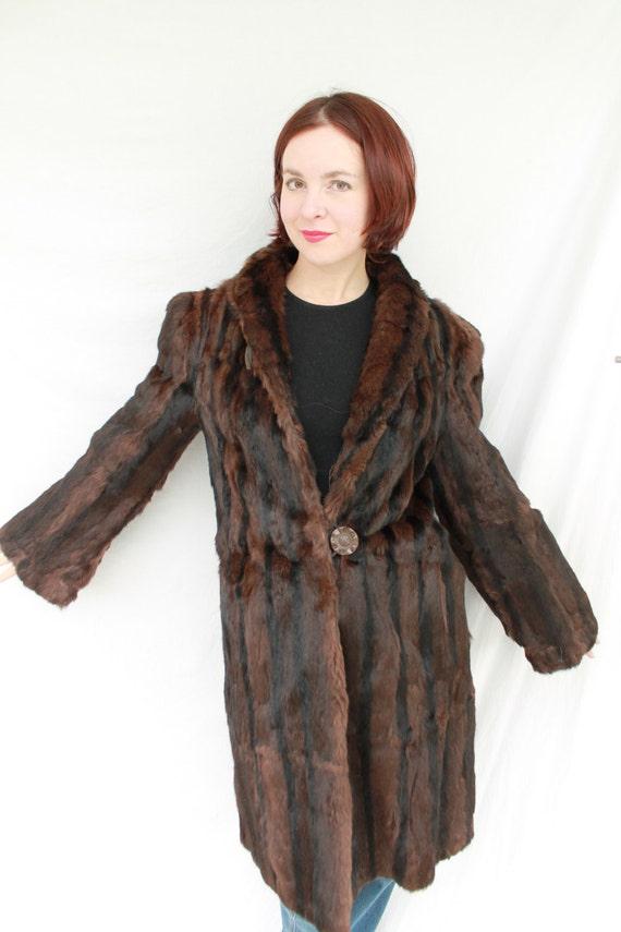 Sale 1930s 1940s Muskrat Fur Coat With Two Bakelite Buttons