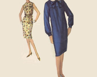 1960s Sheath Dress Mad Men Style Simplicity 5267 Sewing Pattern Long Sleeves Sleeveless High Neck Slim Fit Gathered Yoke Bust 38 Plus Size