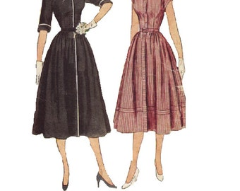 40s 50s Shirt Dress Simplicity 3510 Sewing Pattern Button Front Full Gathered Skirt Deep V Neck Tea Dress Kimono Sleeves Bust 30