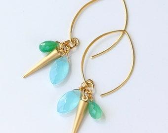 Chrysoprase Gemstone Earrings, Gold Spike Earrings, Sky Blue Green, Chalcedony