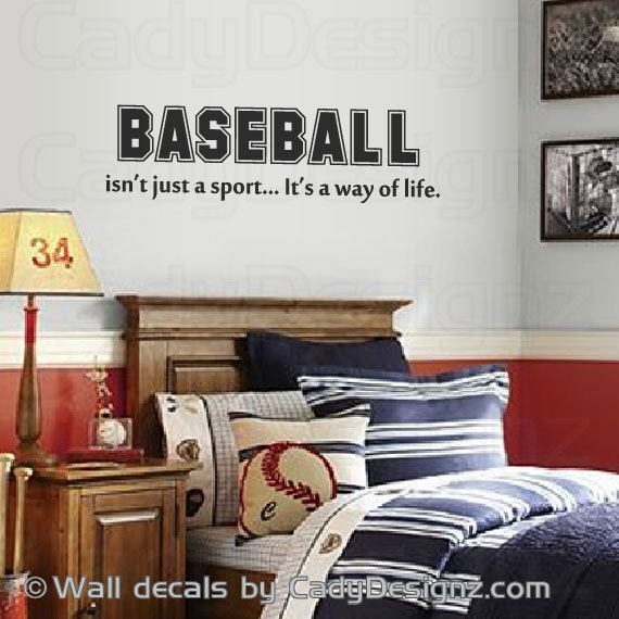 Baseball Vinyl Wall Decal Sports Room Decor Childrens