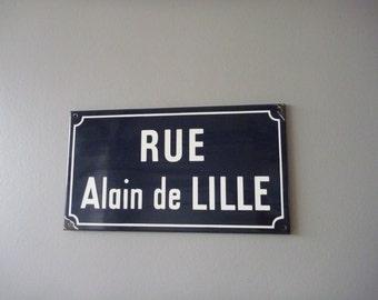 French vintage enamel street sign, 'RUE Alain de LILLE,' cobalt blue, Industrial