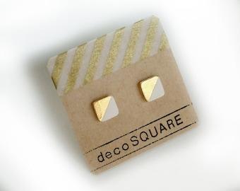 Square stud porcelain earrings- white, gold diagonal two toned, 24k gold filled, geometric white earrings, minimalist studs, gift for her