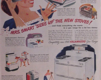 1948 KALAMAZOO STOVE & BLATZ Beer Appliance Kitchen Decor Original Vintage Beer Advertisement Bar Decor Man Cave Ready To Frame