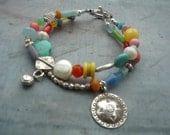 Artist, Handcrafted, Turquoise, Sterling Silver, Double Strand, Charm Bracelet