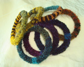 Bracelets Fiber Fine Art OOAK One of a Kind Color Progression Recycled Crocheted Eternal Texture Baby Boucle Yarn Flexible Plastic Core