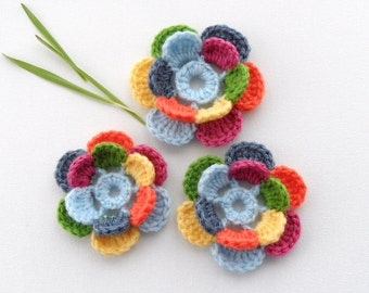 Crochet Flower - Crochet Applique - Multicolored Flowers  - Any Colour - Made to Order