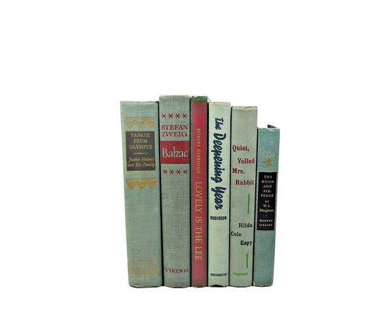 MUTED BLUE GRAY 1940s  Decorative Books, Book Collection, Wedding Decor, Antique Photo props, Book Decor, Interior Design, Home Decor, gray