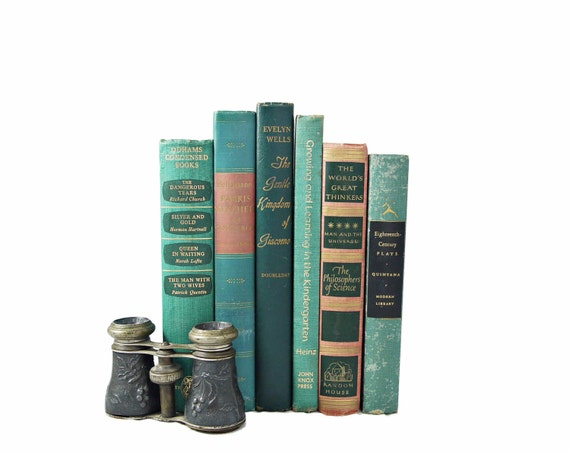 TEAL & SALMON 1940s Decorative Books, Wedding Decor, Book Collection Set, pink green, Antique Old Bundle, Home Library, turquoise