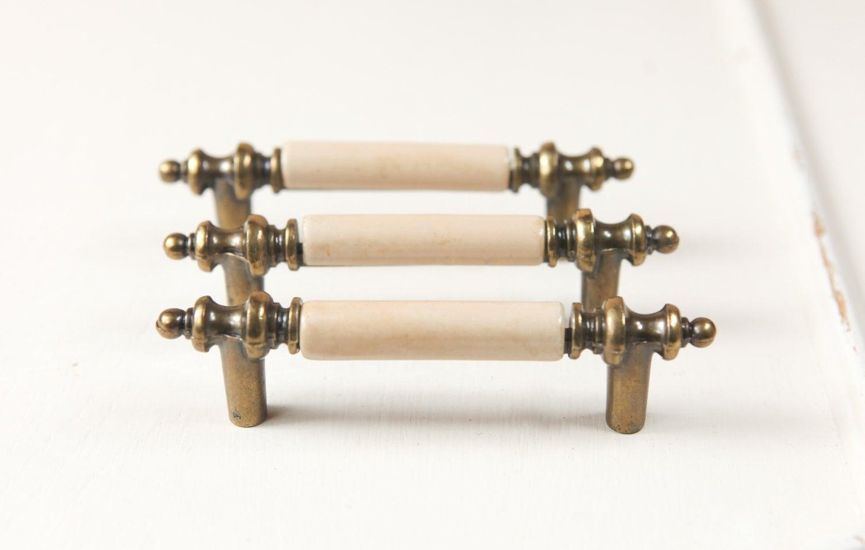 Vintage Brass Cabinet Pulls Hardware W Ivory Porcelain