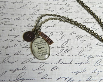 LOVE Definition Pendant  with 2 Personalized Charms