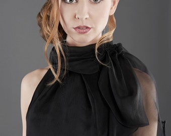 "black silk blouse ""Yma"" womens silk blouse"