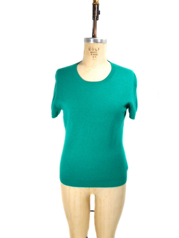 1980s Peck & Peck Cashmere Sweater - Short Sleeve Sweater - Emerald Green - Mad Men Sweater - Office Fashion - Size Large