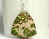 Large pendant with mosaic green jasper gemstone, sterling silver, green sediment jasper, delicate leaf bail