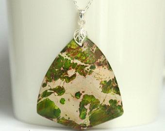 Large pendant with mosaic green jasper gemstone, sterling silver, green sediment jasper, delicate leaf bail