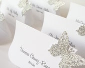 Glam Wedding Decor, Sliver Glitter  Place Cards, Butterfly Wedding Decoration , Custom Escort Cards-