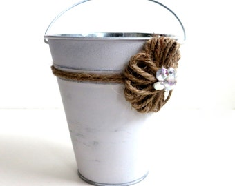 CLEARANCE - Rustic Flower Girl Pail - Rustic Flower Girl Basket Alternative - Tin Basket - Distressed White Tin with Jute Flower
