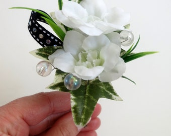 Faux Wedding Boutonniere - Anniversary Boutonniere - Prom Boutonniere - White/Black Boutonniere - White Delphinium Boutonniere