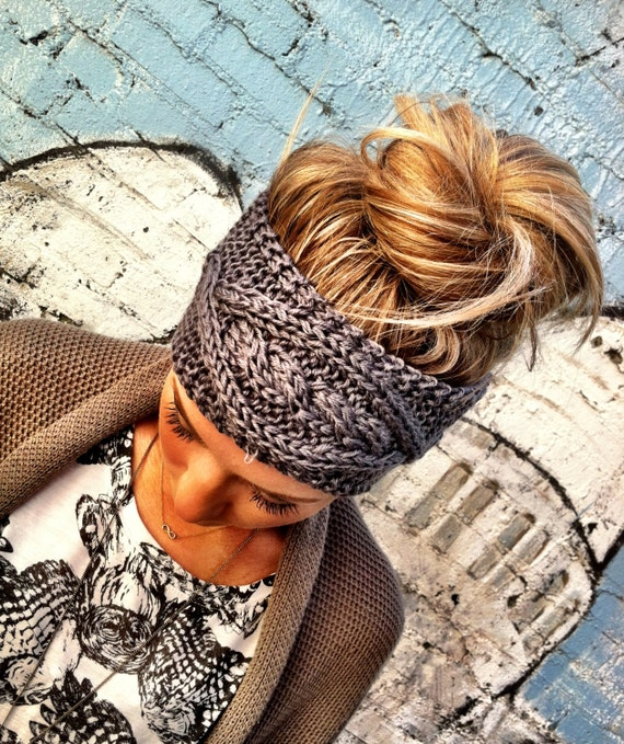 Gray Cable Knitted Headband Ear Warmer Cable Knit Fashion Accessory Grey Turband Style Exclusive Cozy Pinterest Favorite (HB-139)
