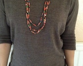 D1 Red Paper Bead Necklace w/Green Wooden Beads